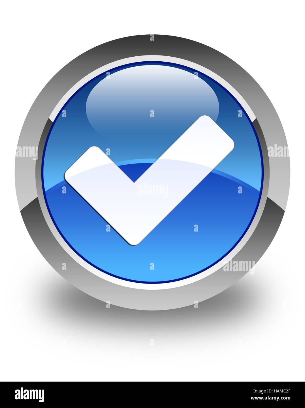 Validate icon isolated on glossy blue round button abstract illustration - Stock Image