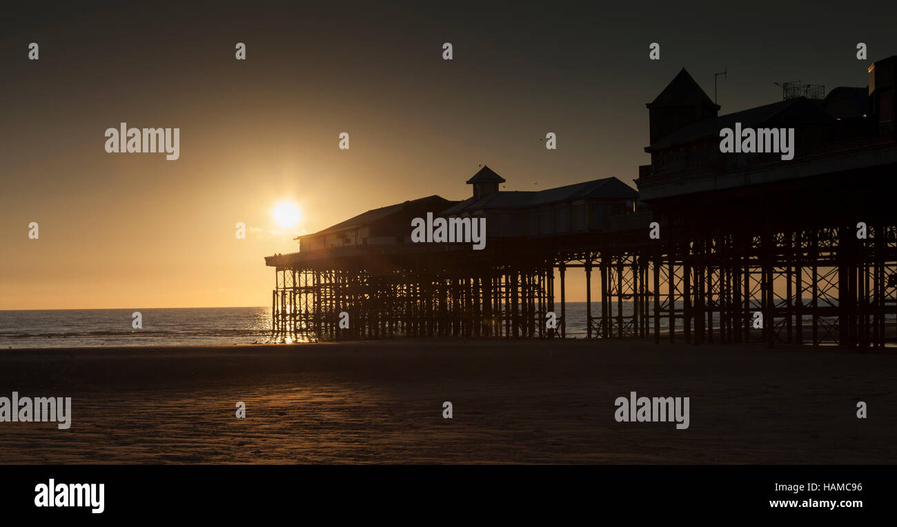 Blackpool beach centrlal pier - Stock Image
