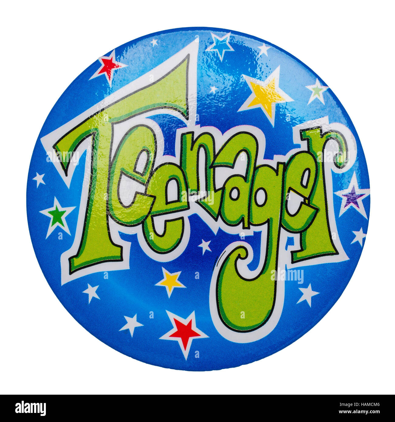 A Teenager badge on a white background - Stock Image
