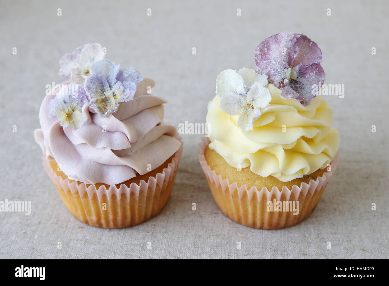 Purple and yellow cupcakes with sugared edible flowers on linen background - Stock Image