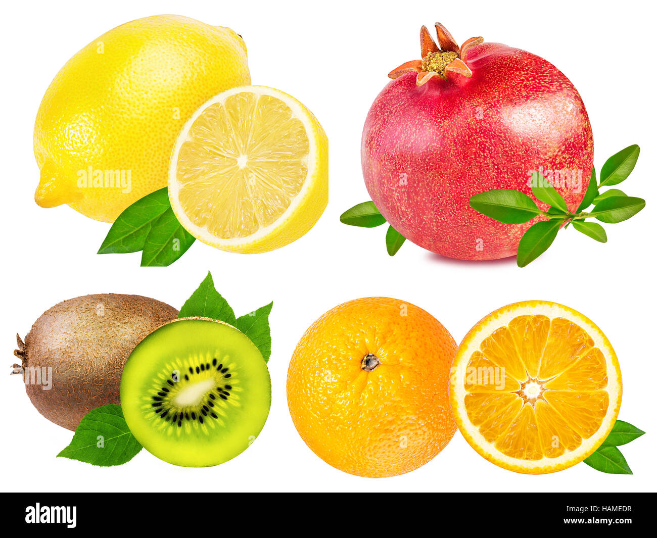 Collection of fruits isolated on white background - Stock Image