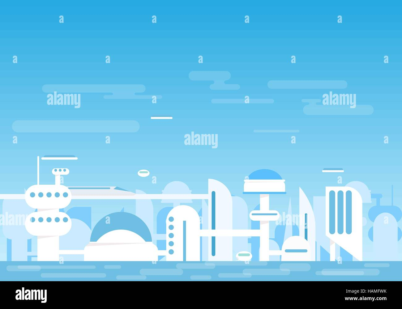 Futuristic buildings and houses near water. - Stock Vector