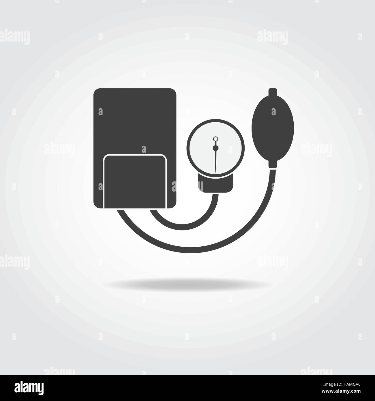 Simple black icon of analog tonometer with punching bag. - Stock Vector