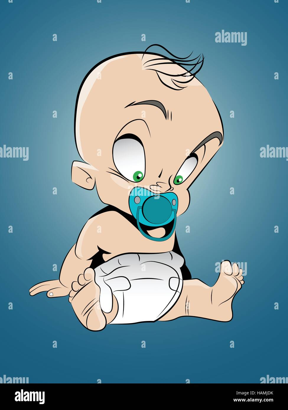Vector illustration of a cartoon style baby sitting on the ground - Stock Vector