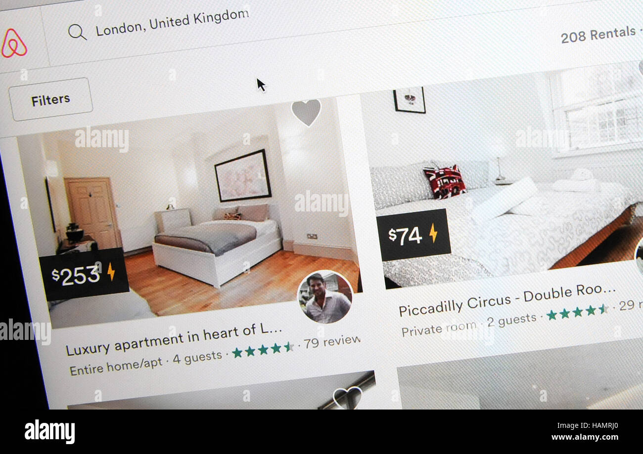 December 1, 2016 - Orlando, Florida, United States - The Airbnb website displays home rentals in London, England - Stock Image