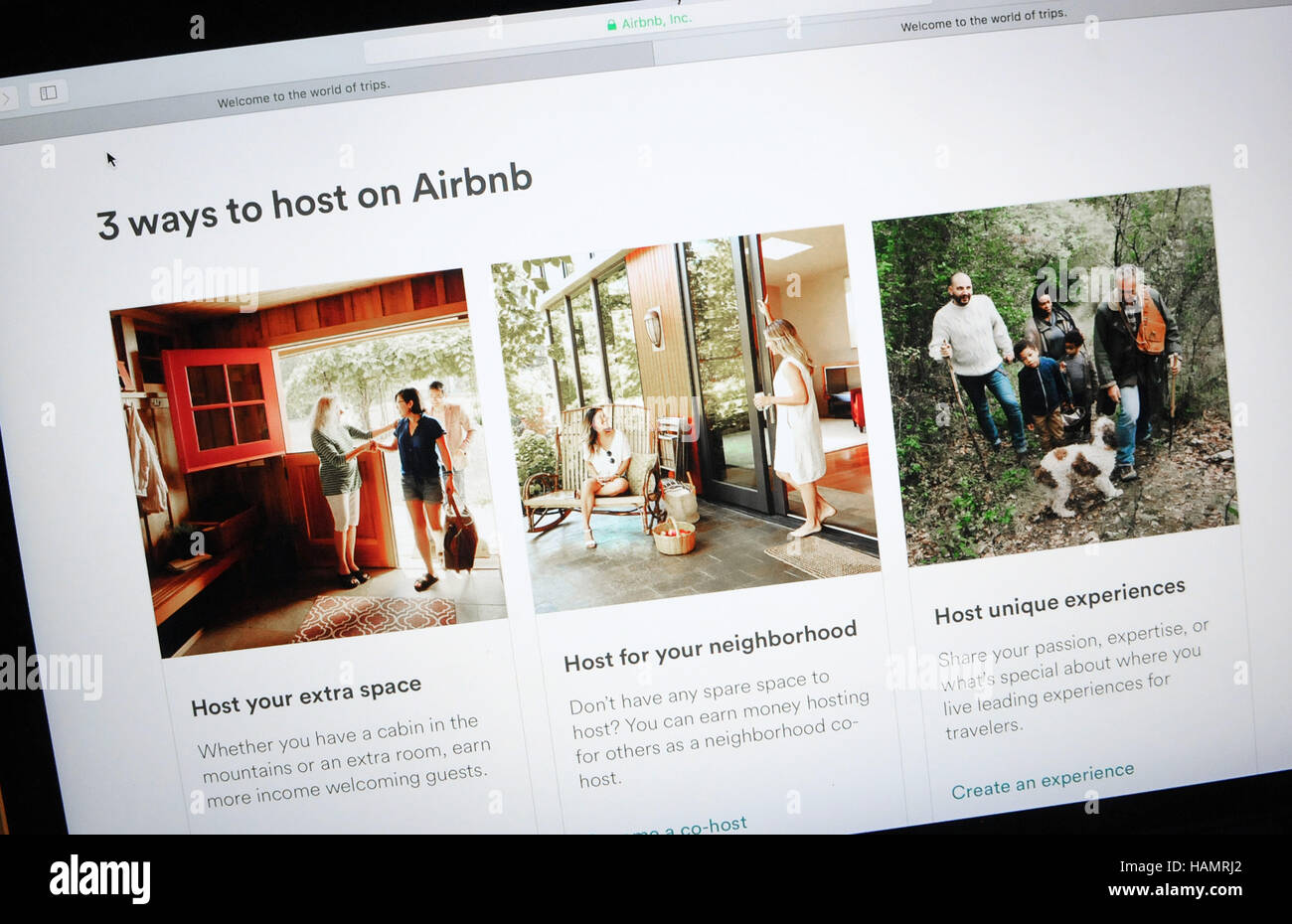 December 1, 2016 - Orlando, Florida, United States - The Airbnb website is seen on a computer screen in Orlando, - Stock Image