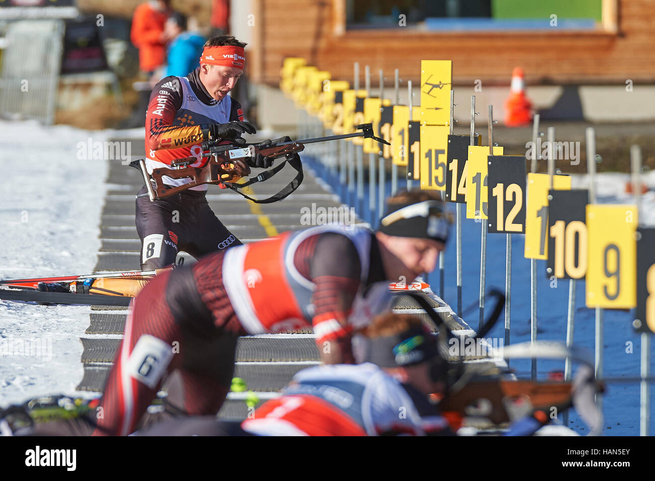 Lenzerheide, Switzerland. 3rd December 2016. Maximilian Janke from WSV Oberhof is preparing for shooting at the - Stock Image