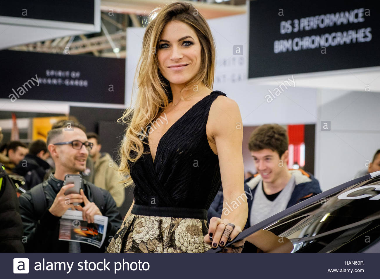 Italian Actress Eleonora Pedron attends the Motor Show 2016 on December 3, 2016 in Bologna, Italy. The Bologna motor - Stock Image