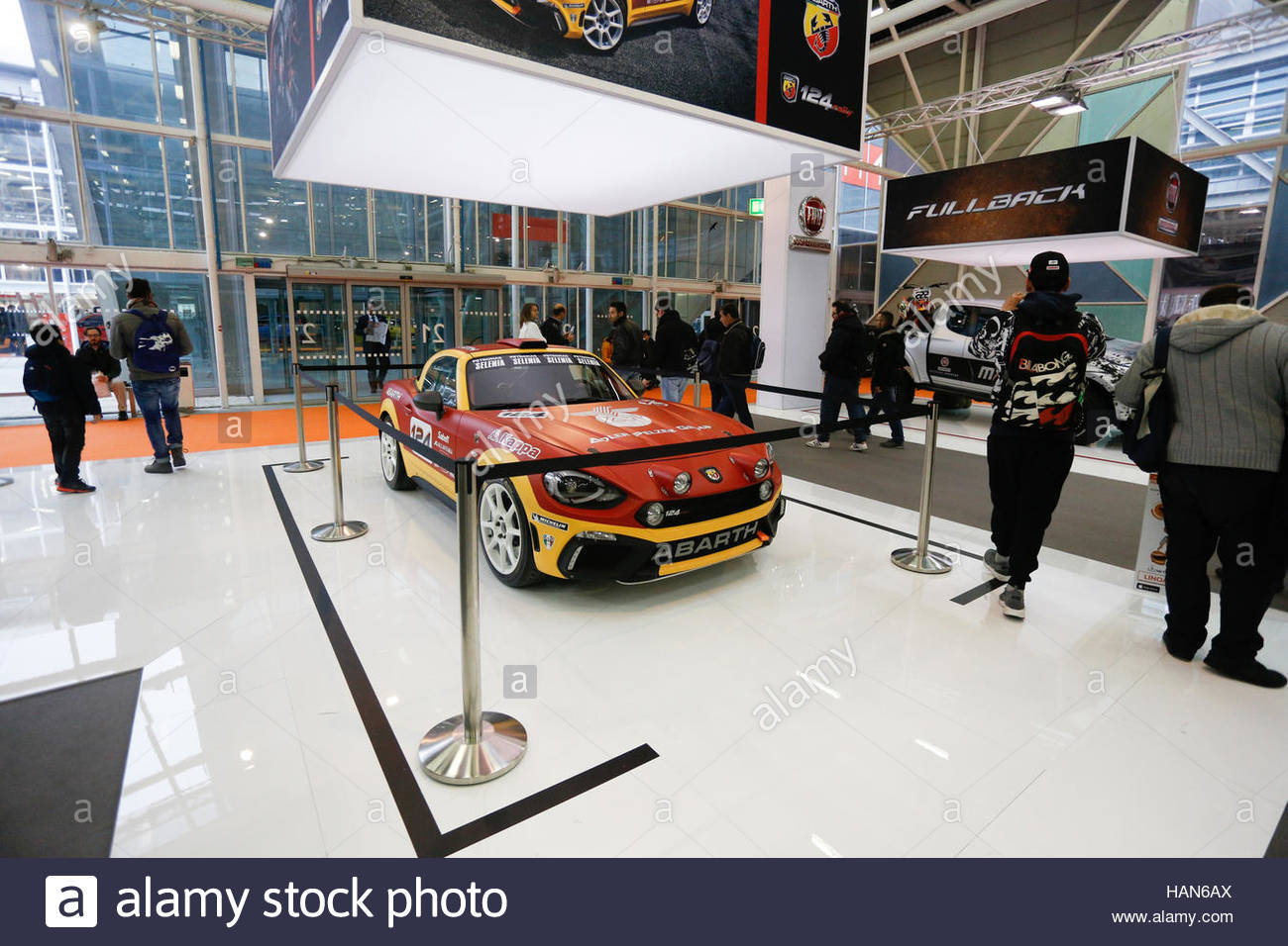 A general view of Fiat Abarth stand during on the opening day of the Bologna Motor Show, on December 3, 2016 in - Stock Image