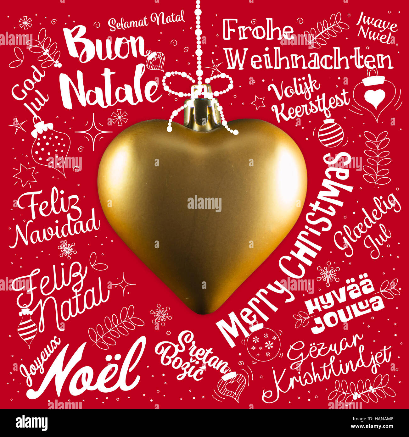 Merry Christmas greetings card from world in different languages ...