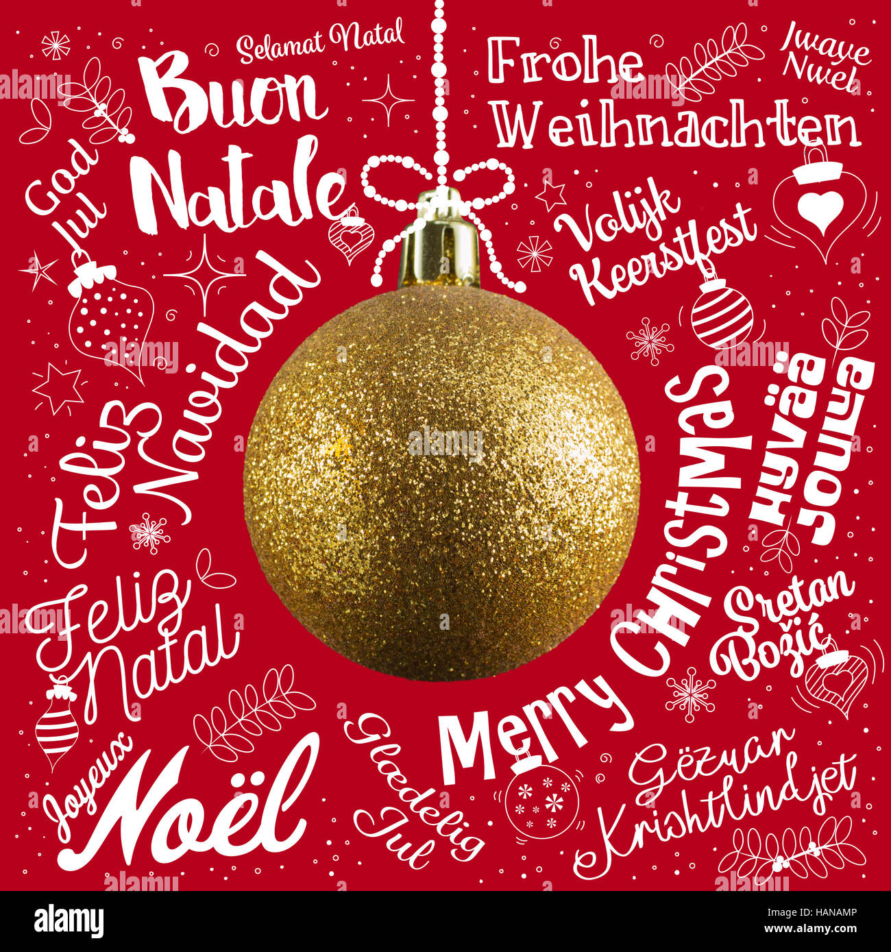 Christmas Greetings In Different Languages Stock Photos Christmas