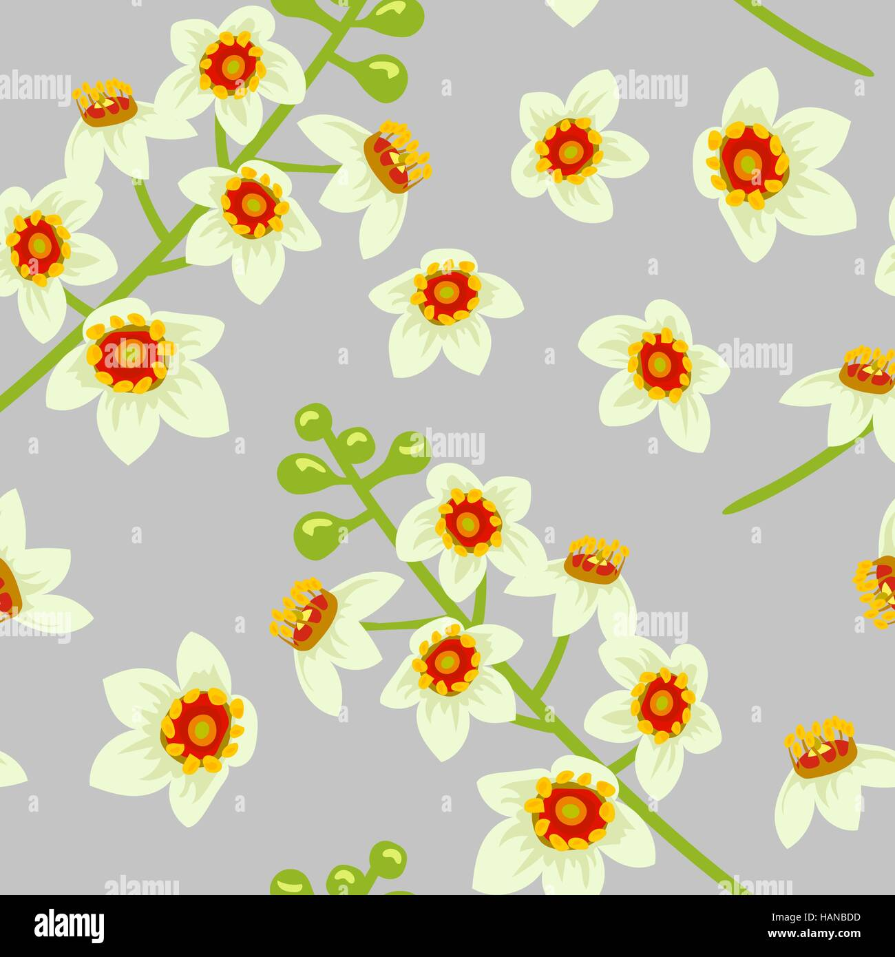 Frankincense flower seamless pattern vector. Boswellia tree flowers. Stock Vector