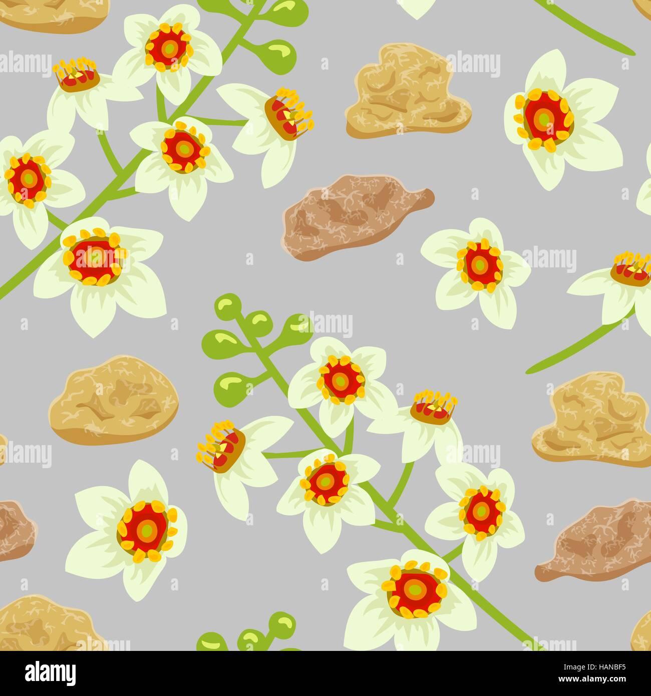 Frankincense seamless pattern. Boswellia tree flowers. - Stock Vector