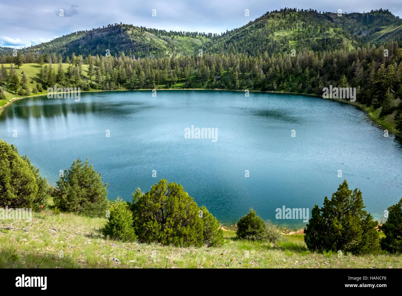A small lake on the Hellroaring Nature Trail through Yellowstone National Park in Wyoming USA - Stock Image