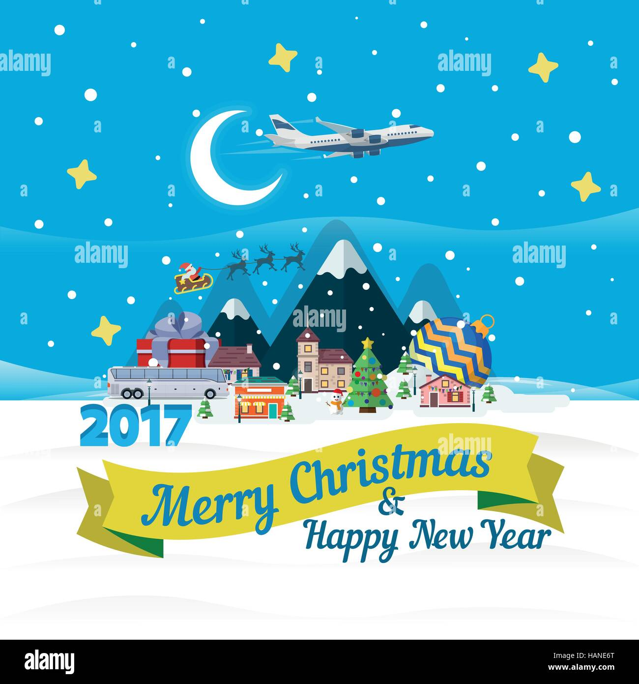 merry christmas and happy new year flat banner vector illustration for the website calendar ads banners winter landscape
