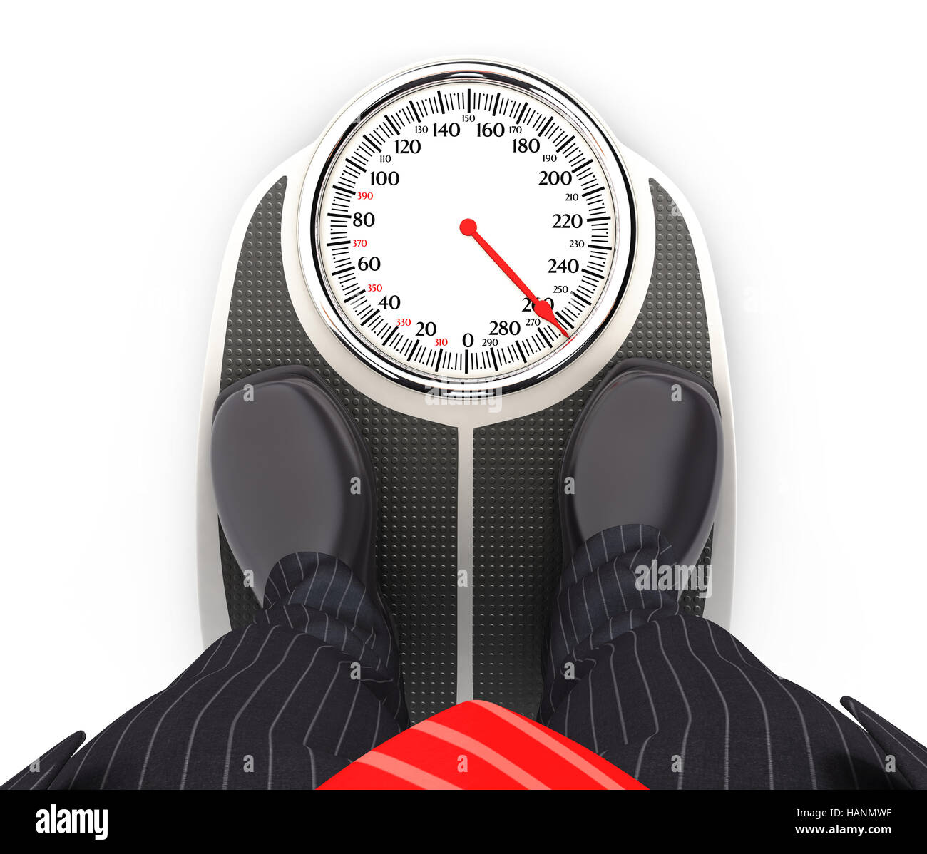 3d businessman on bathroom scales, illustration with isolated white background Stock Photo