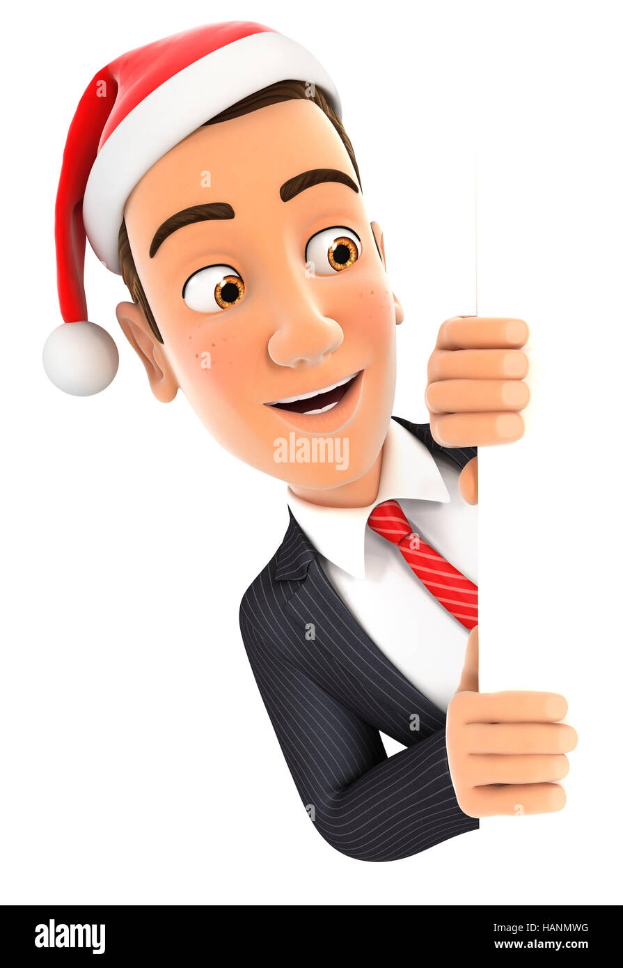 3d businessman with christmas hat peeping over wall, illustration with isolated white background Stock Photo