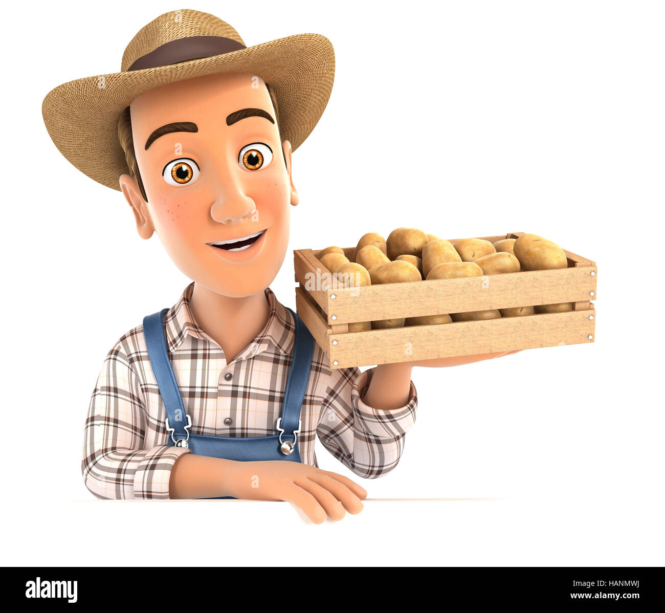 3d farmer holding wooden crate of potatoes, illustration with isolated white background Stock Photo