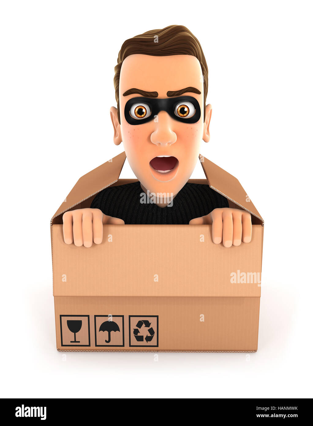 3d thief hiding inside a cardboard box, illustration with isolated white background Stock Photo