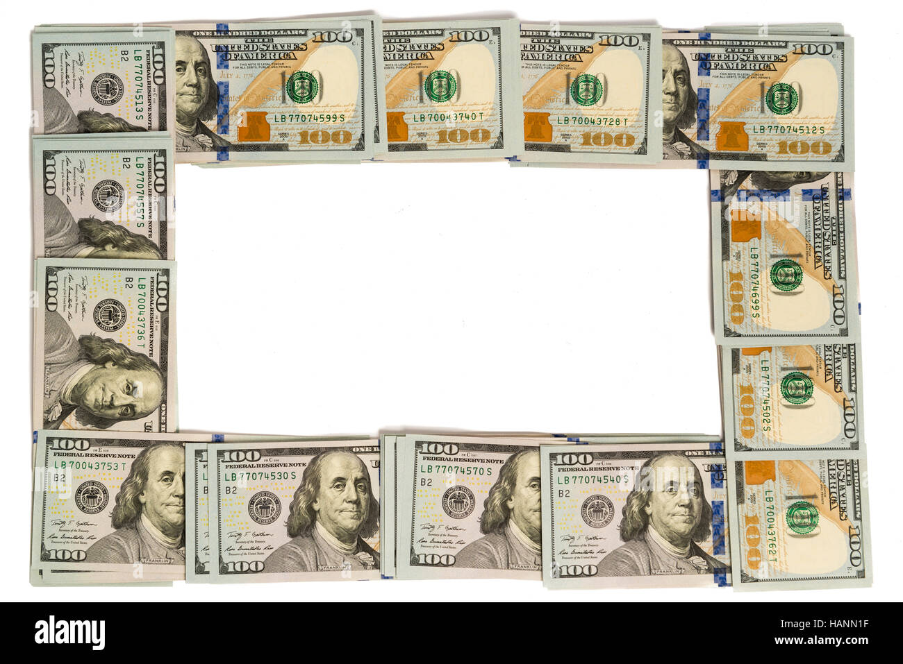 Mockup frame made of hundred dollar banknotes isolated on white with copy space - Stock Image