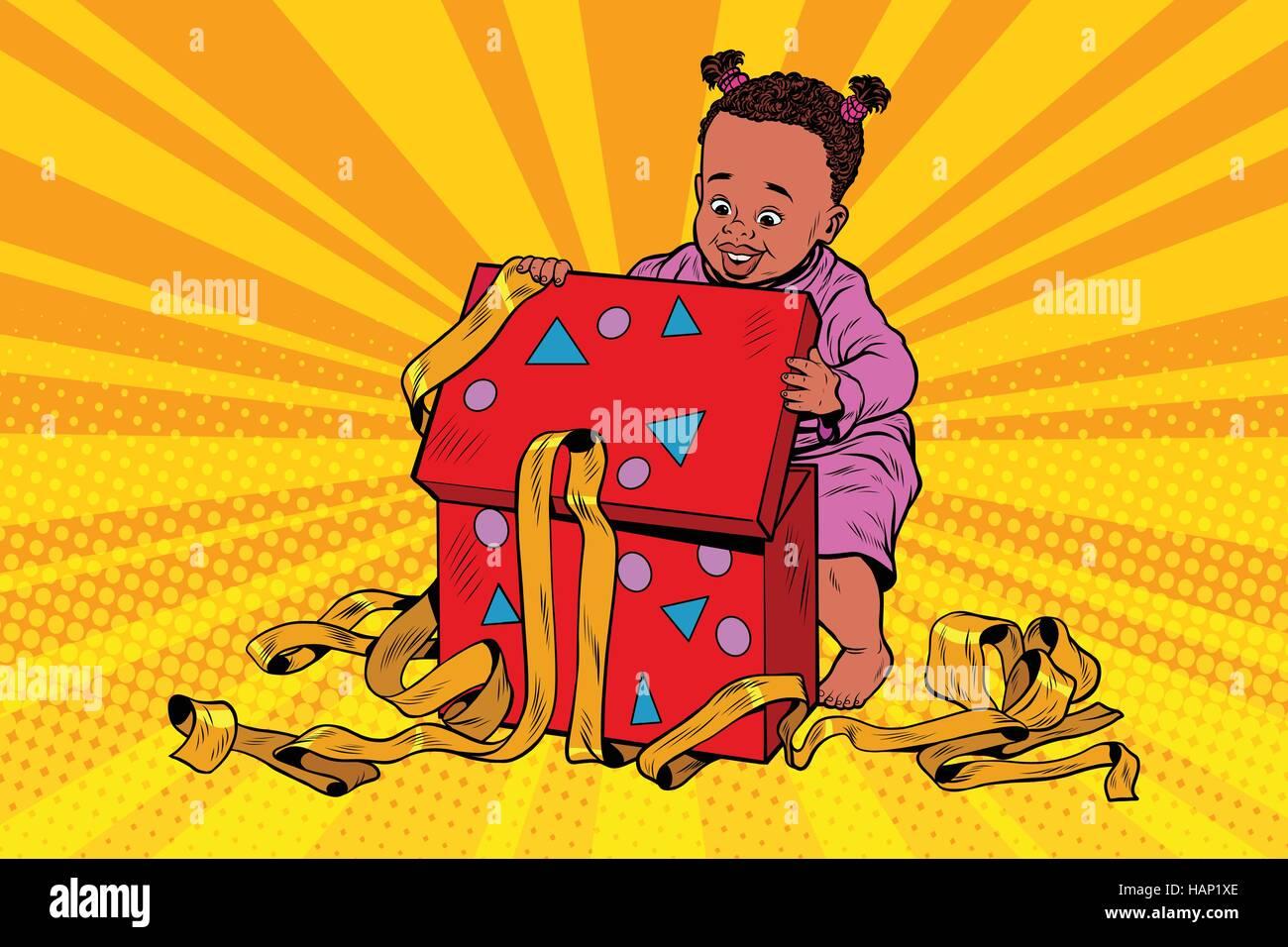 Pop art girl opens the gift box - Stock Vector
