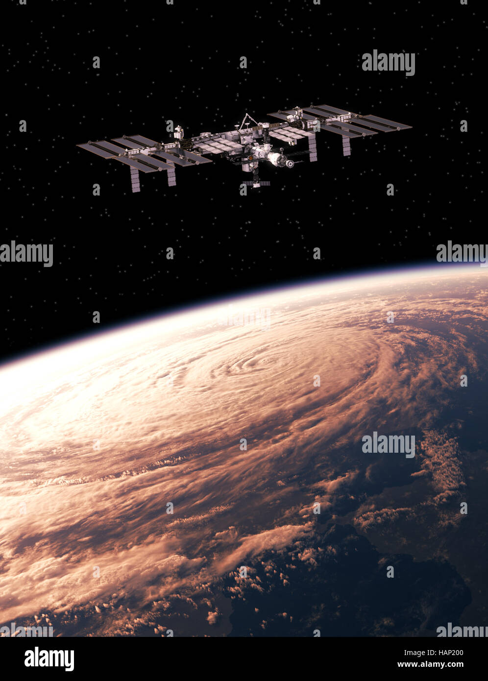 International Space Station Exploring A Hurricane On The Earth - Stock Image