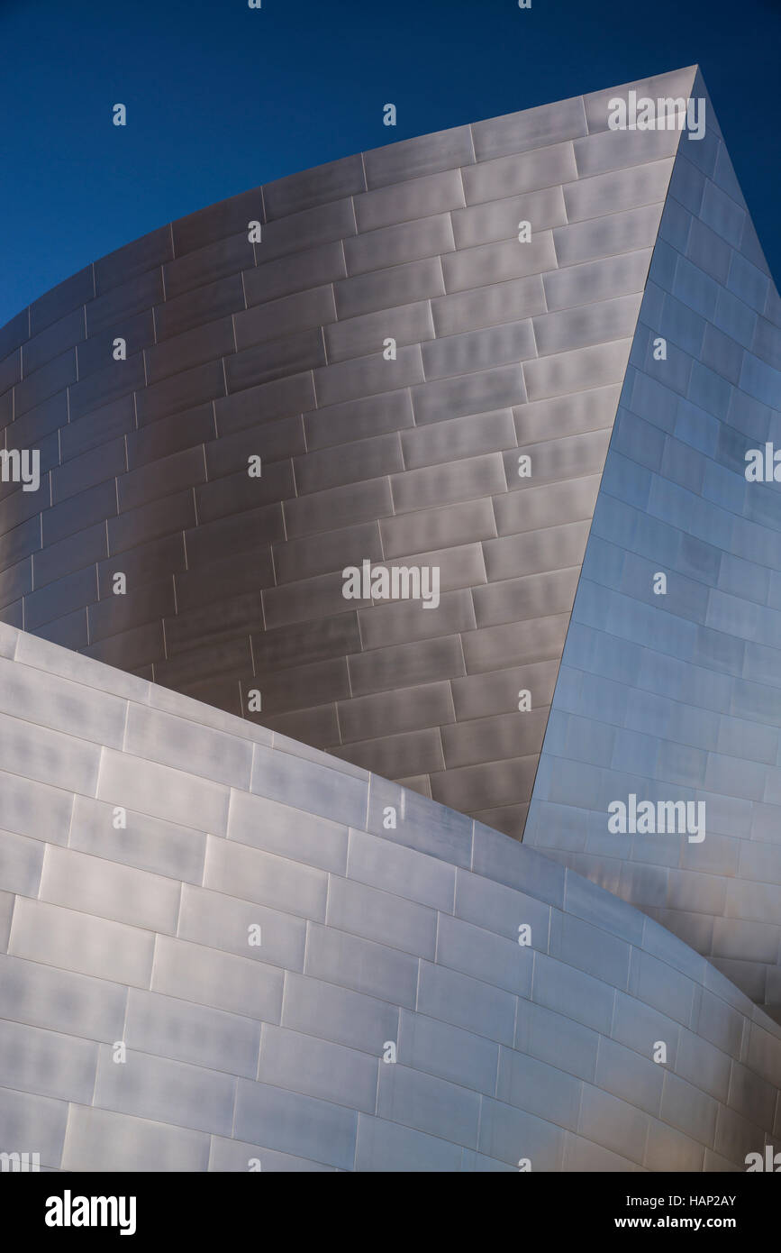Walt Disney Concert Hall in Los Angeles  in Downtown Los Angeles, California. The Music Center was designed by Frank - Stock Image