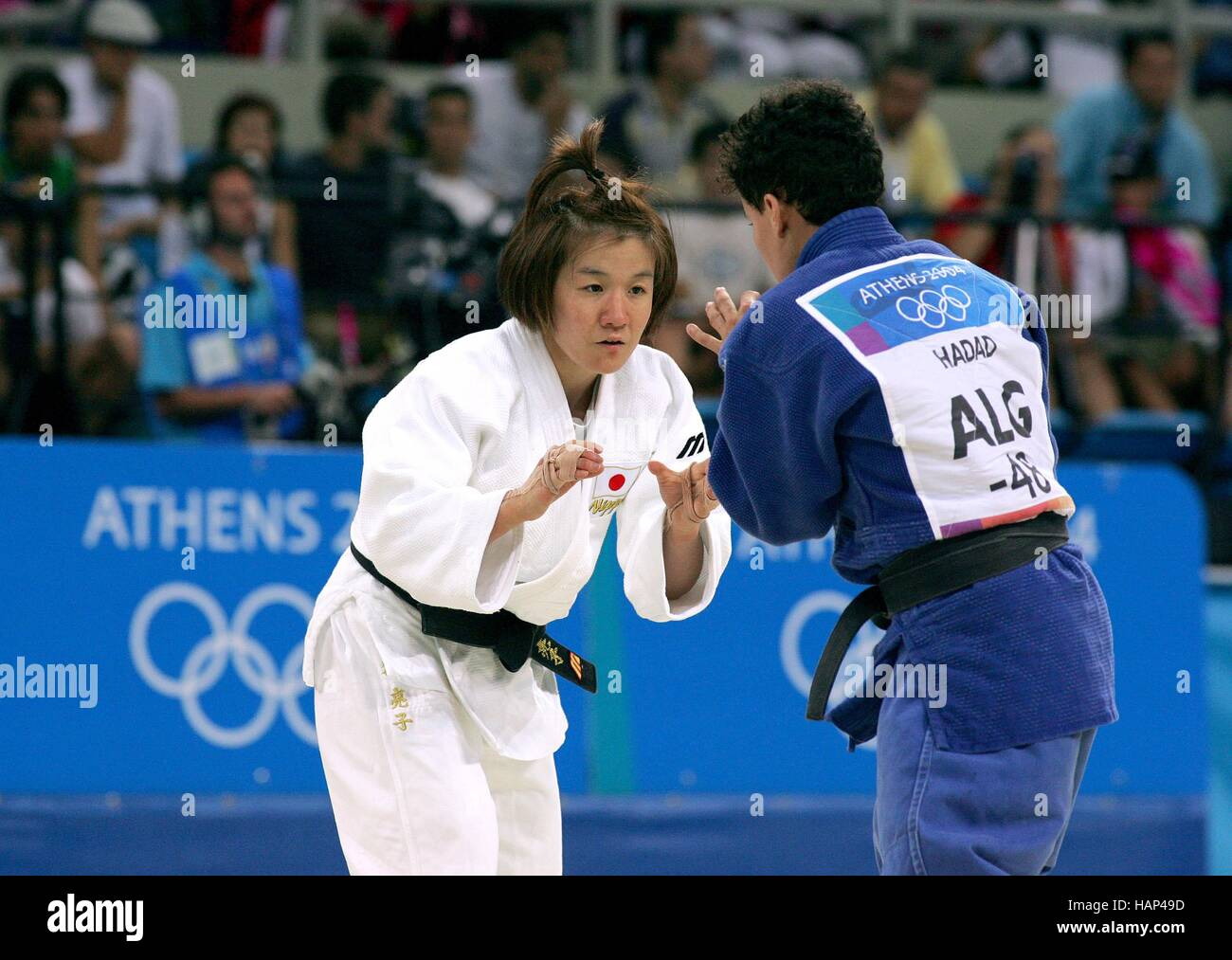 RYOKO TANI & S. HADDAD OLYMPIC JUDO ATHENS GREECE 13 August 2004 - Stock Image