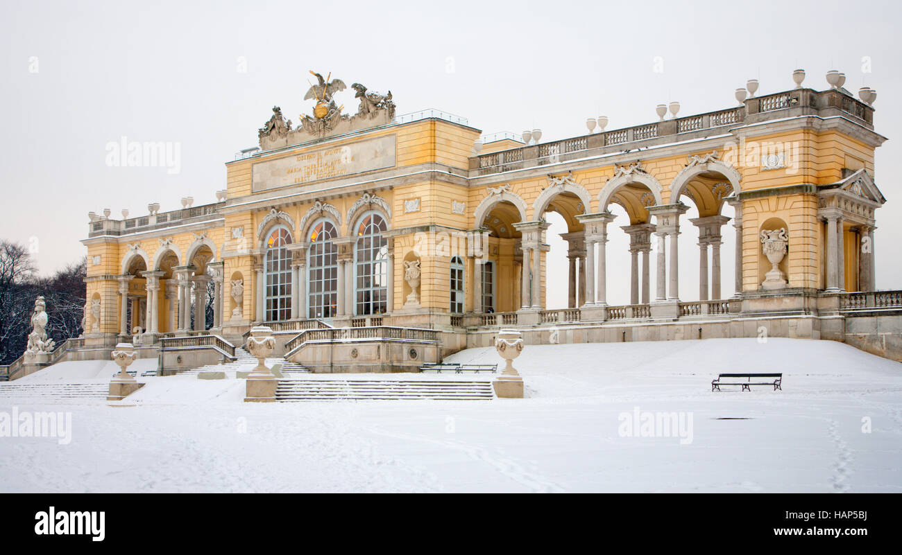 VIENNA, AUSTRIA - JANUARY 15, 2013: Gloriette from gardens of Schonbrunn palace winter. Gloriette was built in year - Stock Image