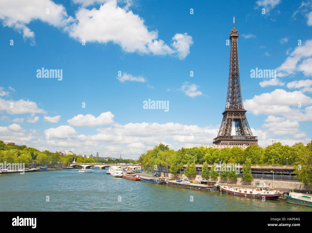 Paris - Eiffel tower from riverside Stock Photo