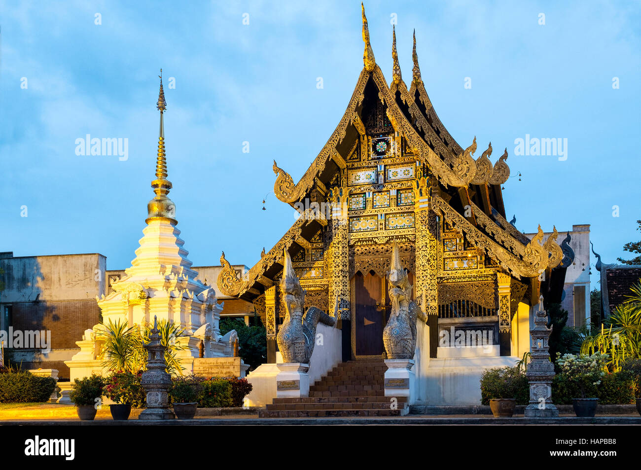 Bucha Sao Inthakin inside the Wat Chedi Luang temple grounds, Chiang Mai, Thailand - Stock Image