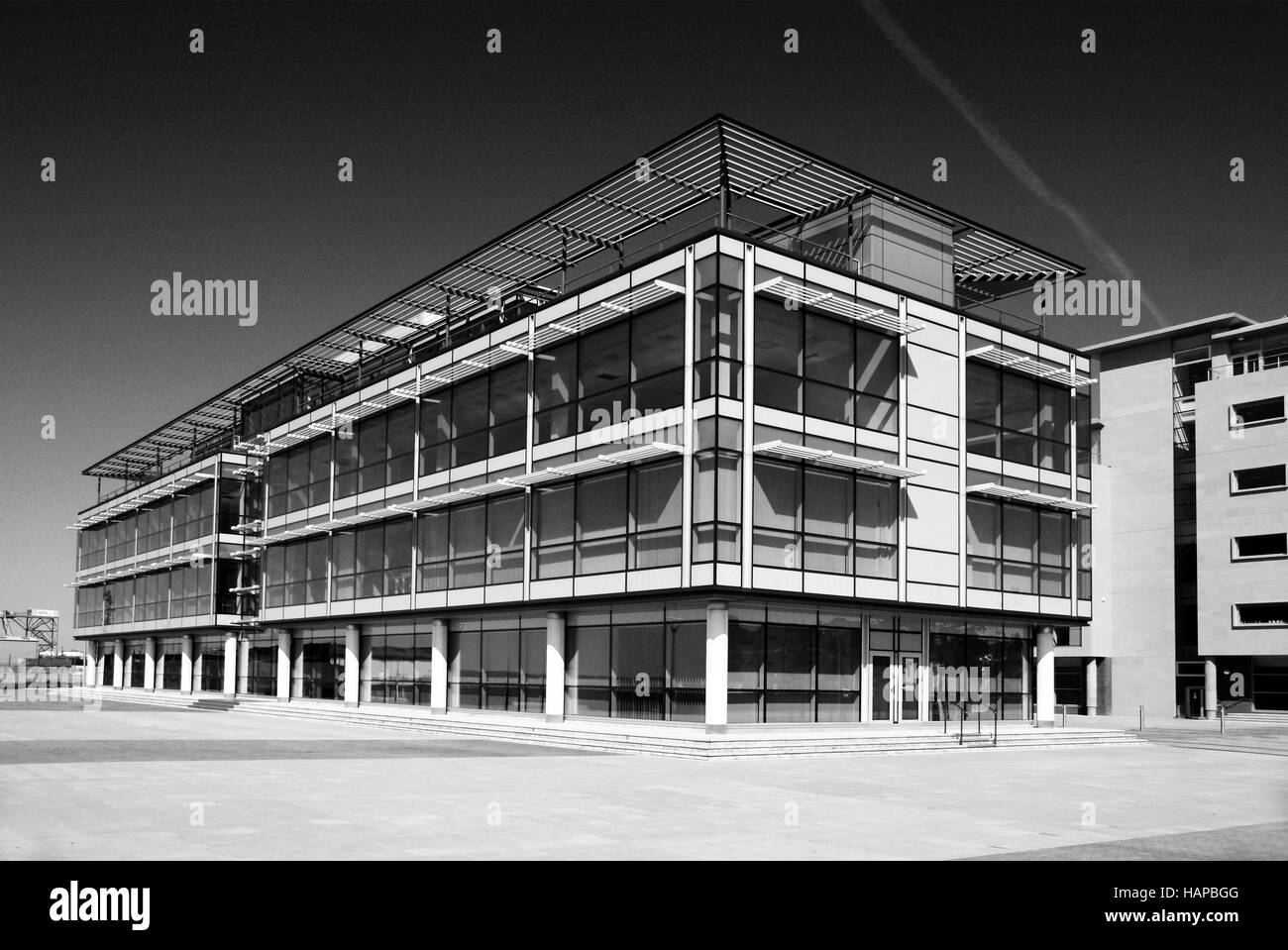 modern office, glass and steel construction - Stock Image