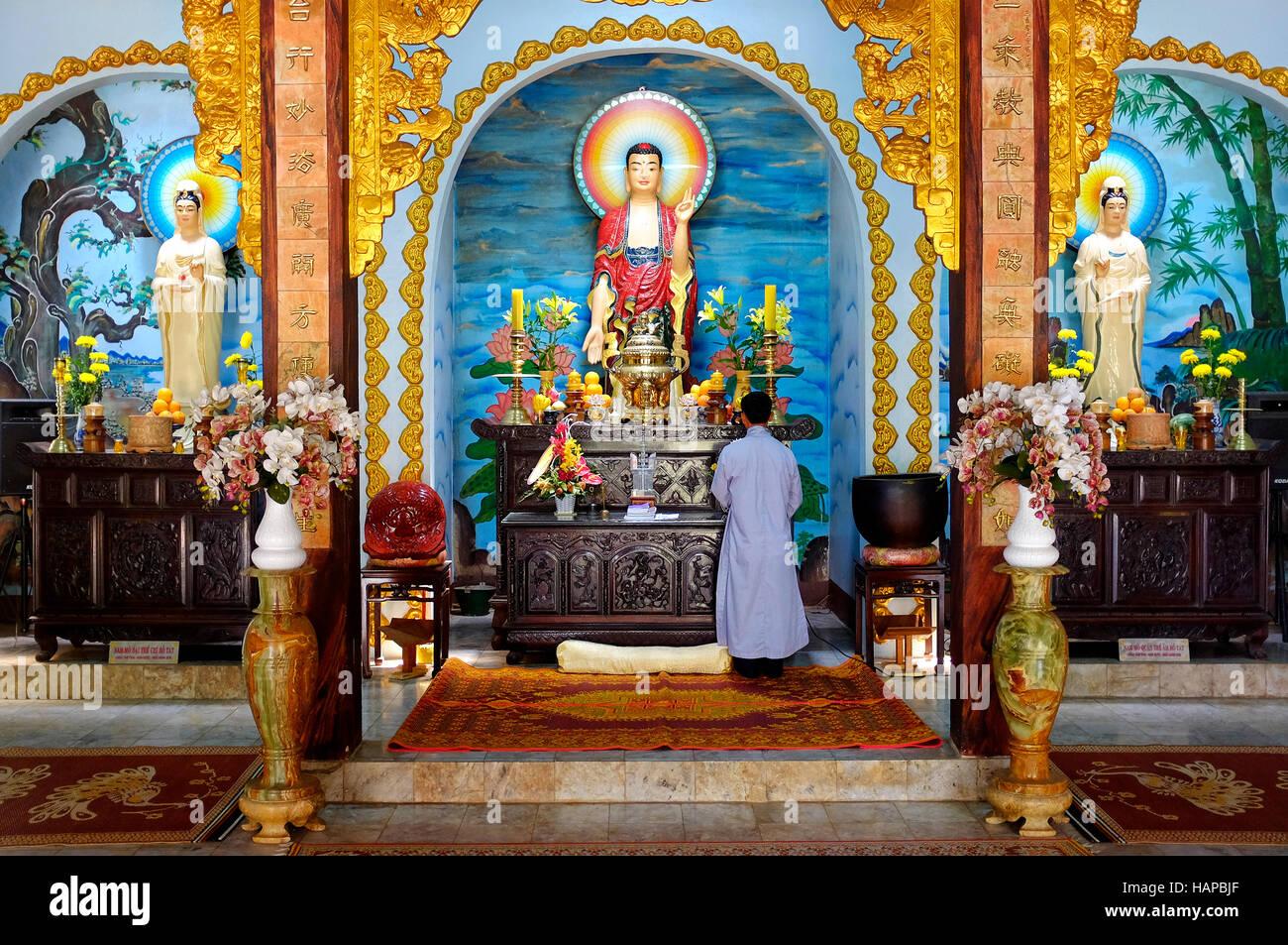 Altar of the Tam Thai Pagoda, Da Nang, Vietnam - Stock Image