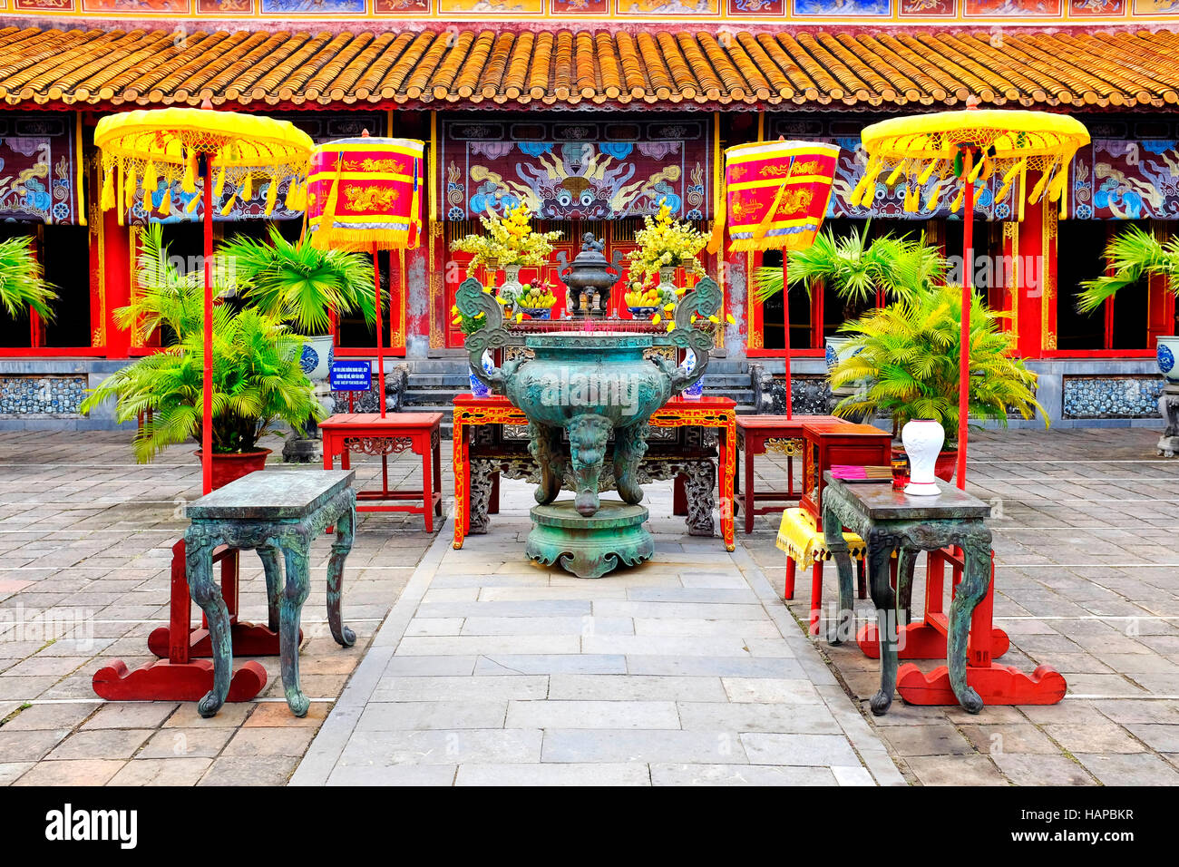 Dynastic urn in The To Mieu Temple in the Hue Imperial city, Hue, Vietnam - Stock Image