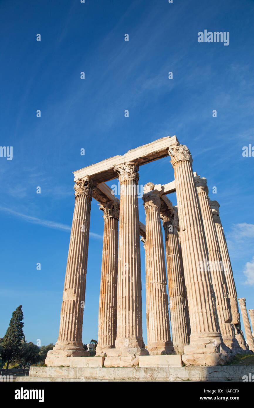 Athens - The Olympieion (Temple of Zeus) - Stock Image