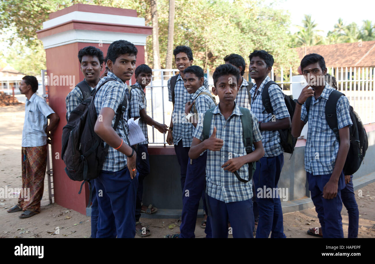 Group of teenage schoolboys outside a school in Kochi,Kerela,India. - Stock Image