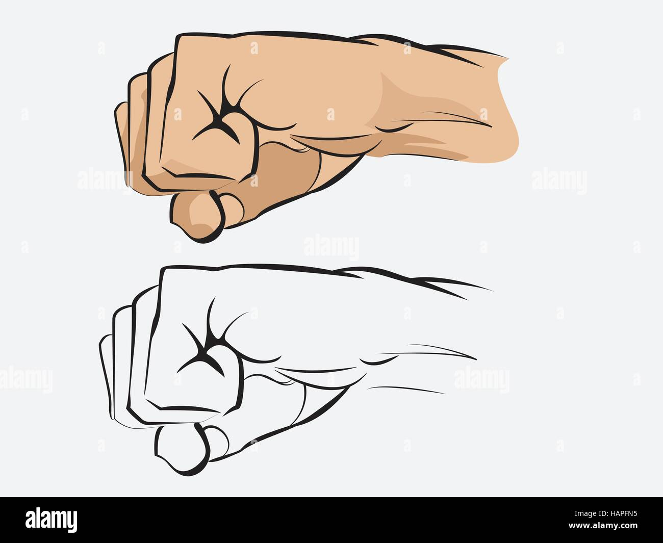 Vector illustration of a human fist colored and line art - Stock Vector