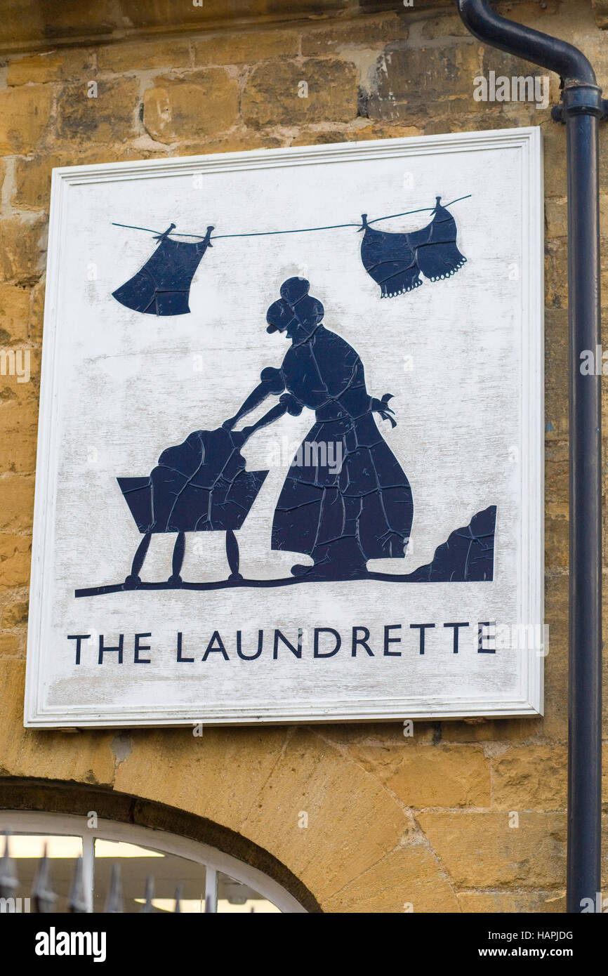 The Laundrette sign, Moreton in Marsh, Cotswolds, England Stock Photo