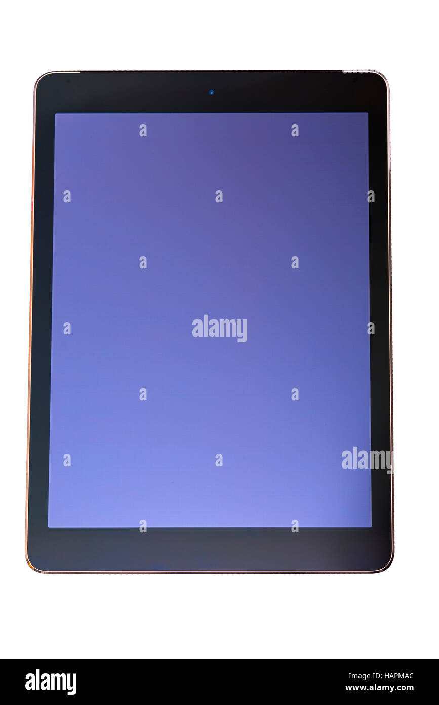 Stylish tablet PC computer with black frame and blank blue screen isolated on white background, copy space, customizable - Stock Image