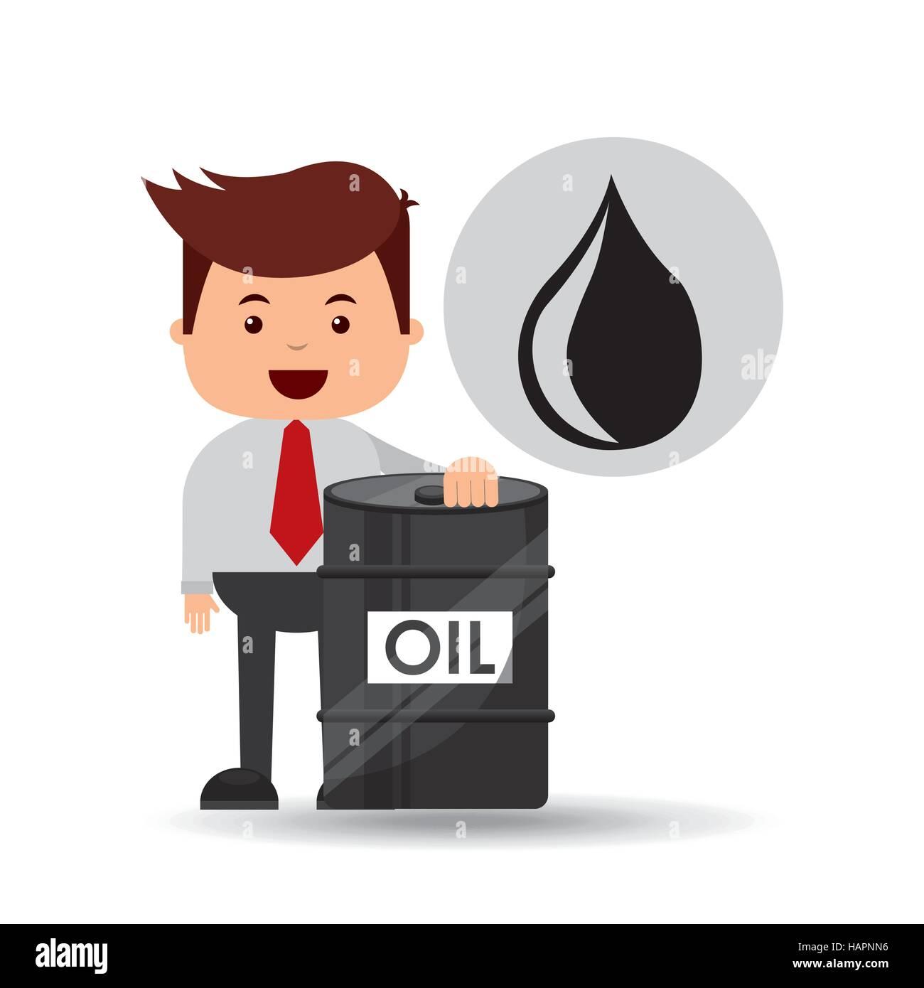 businessman oil industry barrel icon vector illustration eps 10 - Stock Image