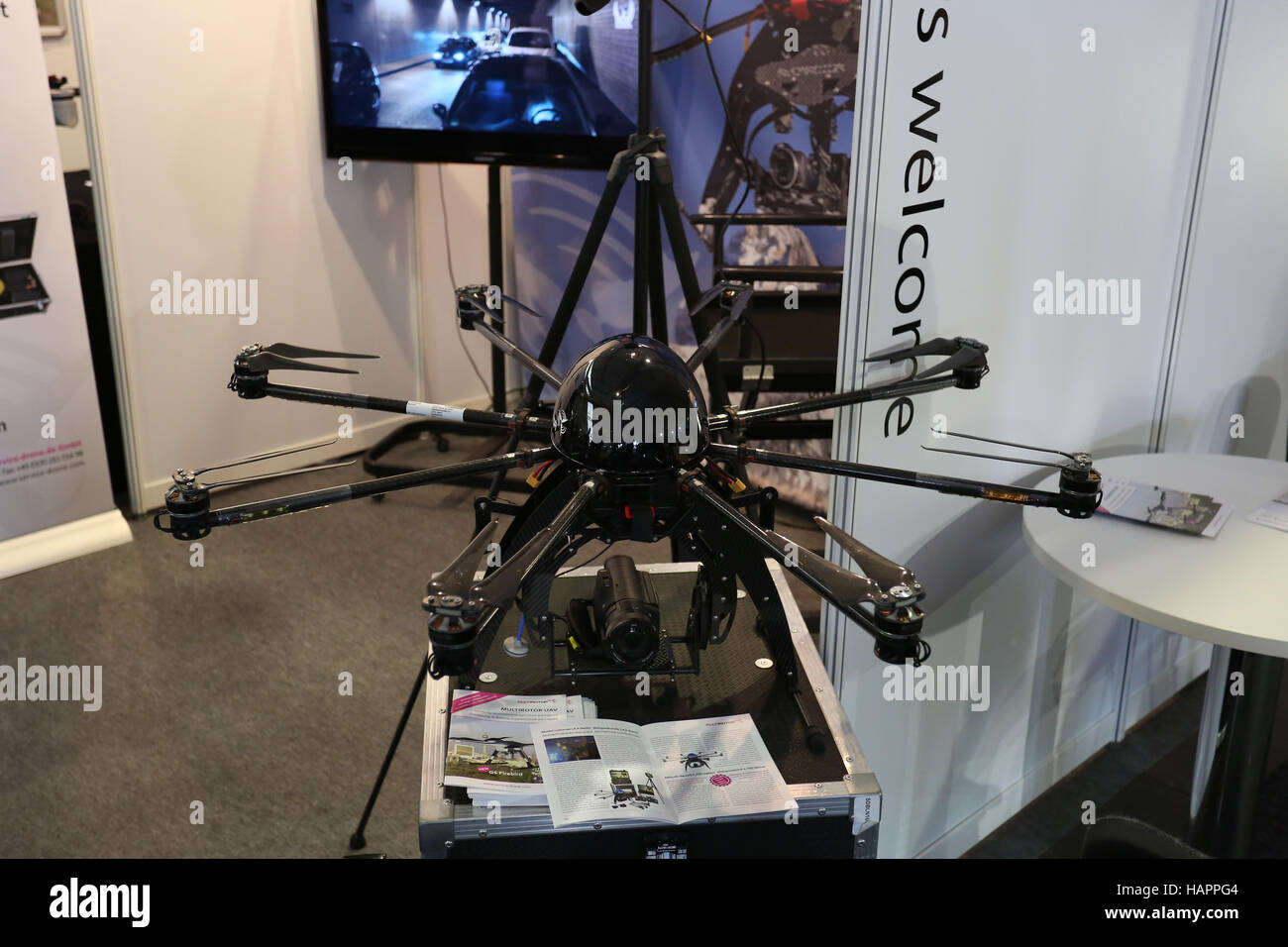 Berlin, Germany, 2nd June, 2016: Multirotor presents an airdrone at Berlin Air Show 2016. - Stock Image