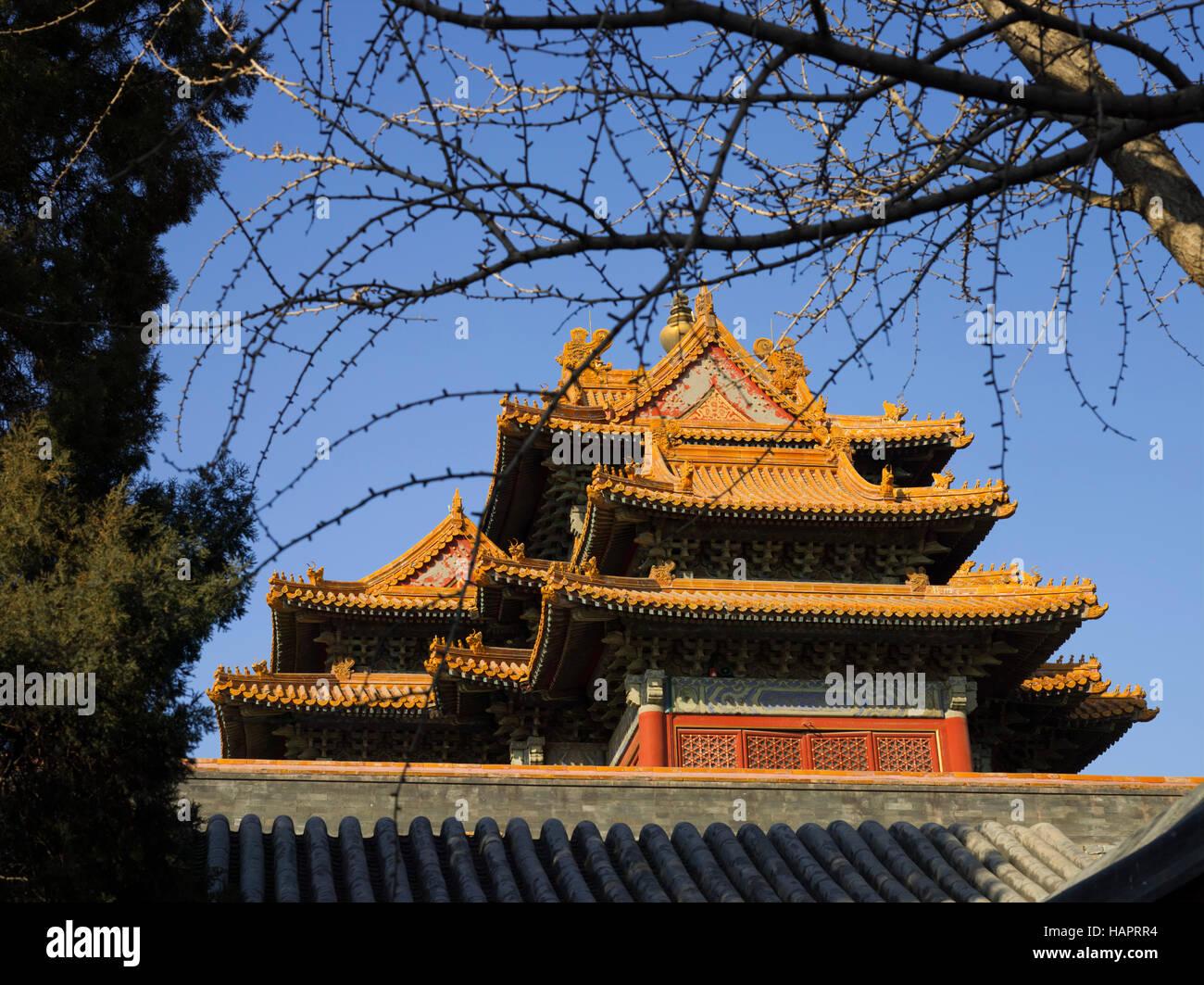 Corner turret ,The Forbidden City, Beijing China - Stock Image