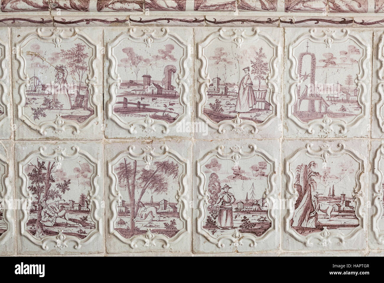 A ceramic stove ordered by Marshall de Saxe in the 18th century to keep the lower rooms warm in the chateau de Chambord. - Stock Image
