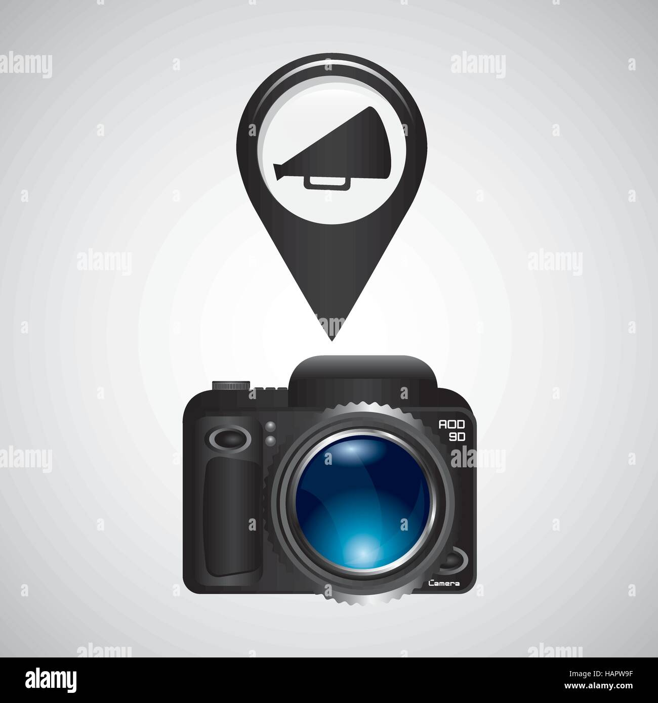 digital photo camera megaphone vector illustration eps 10 - Stock Vector
