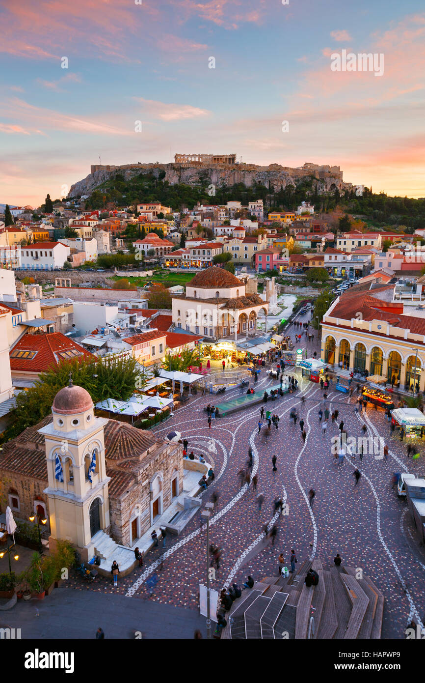 View of Acropolis from a roof-top coffee shop in Monastiraki square, Athens. - Stock Image
