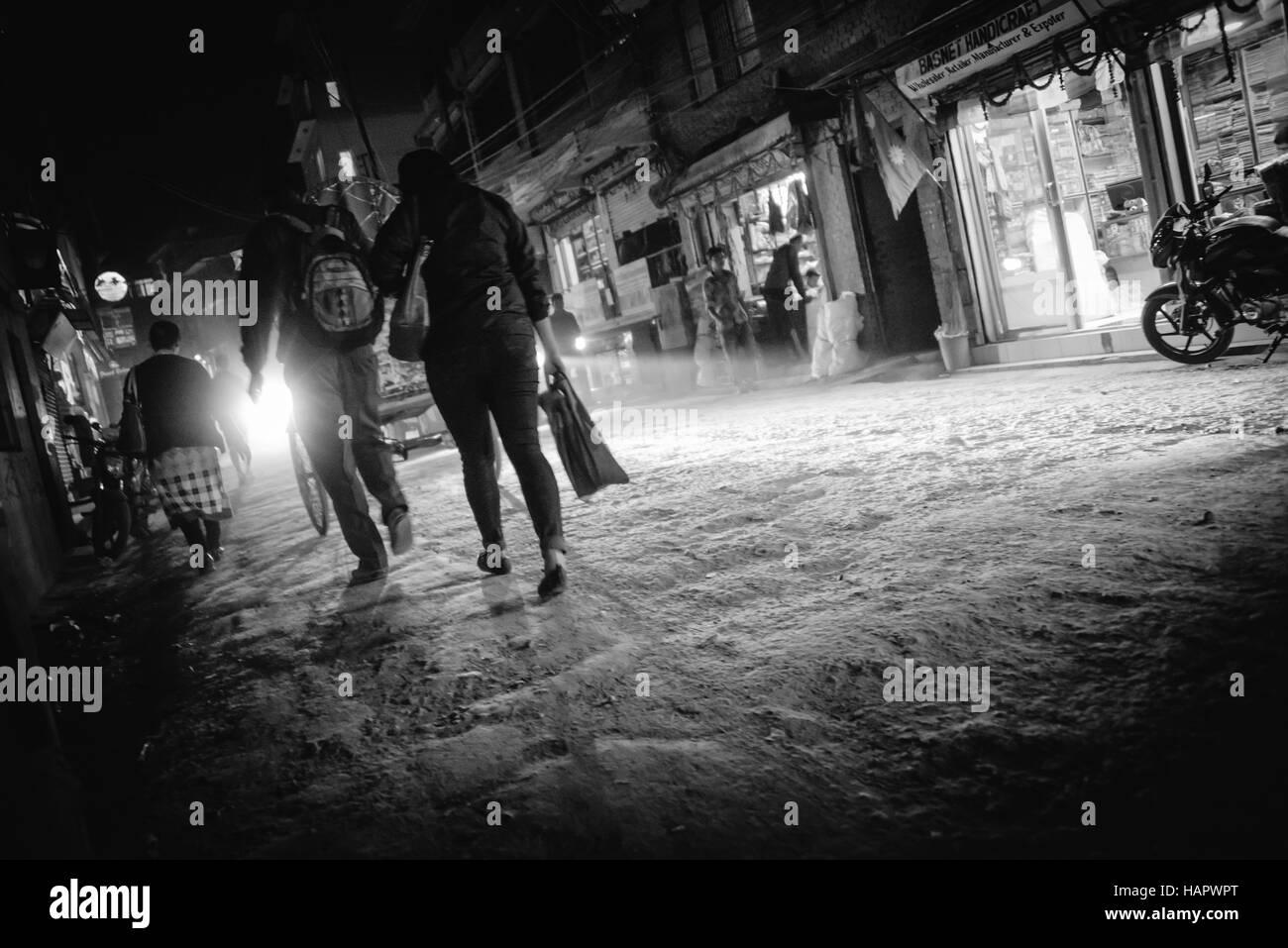 Streets of Thamel in Kathmandu Nepal at night - black & white - Stock Image
