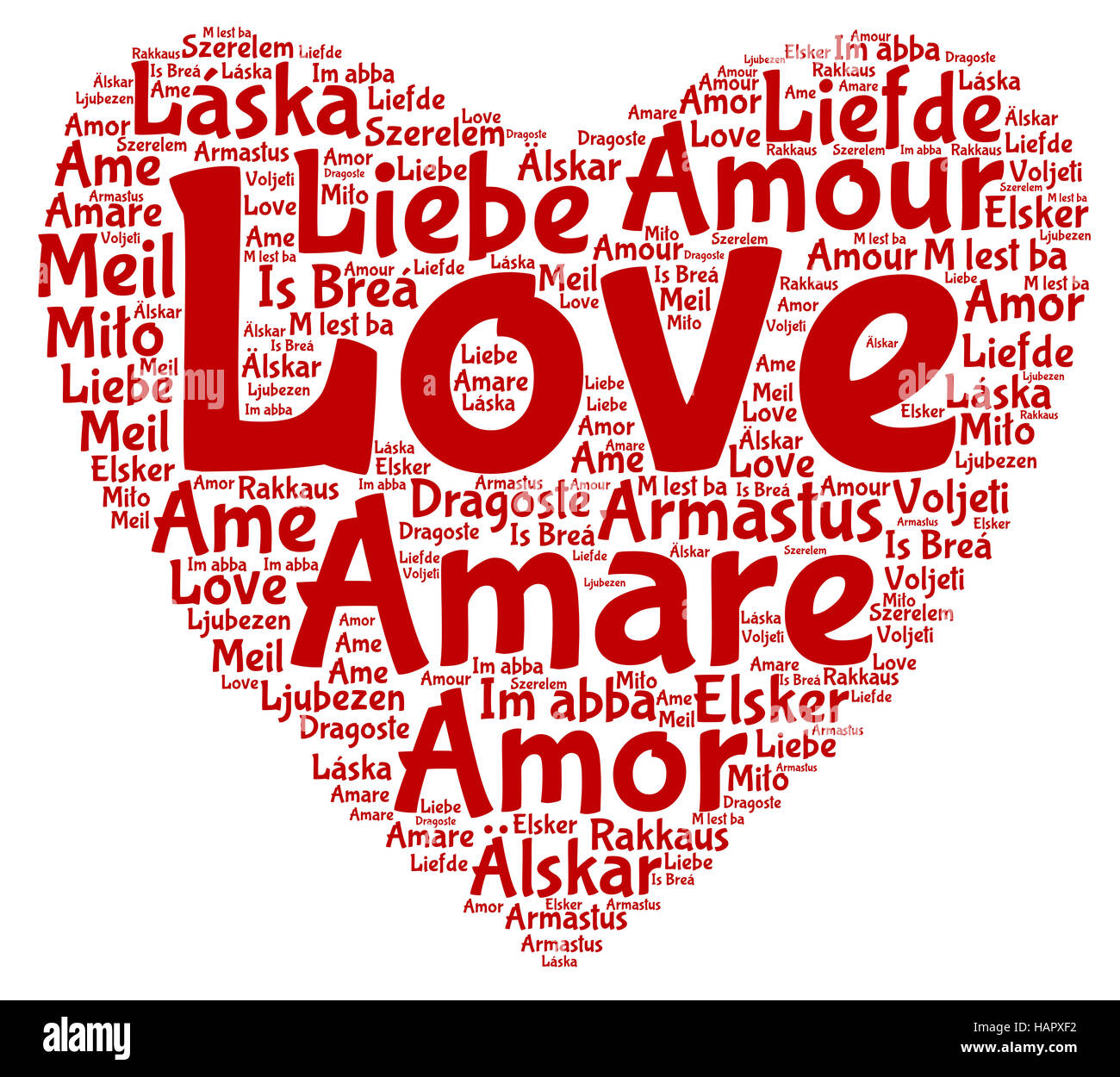 A Word Cloud With Love In All The European Union Languages