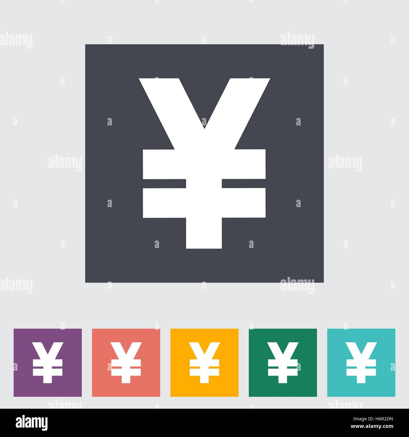 Yen flat icon. Vector illustration. - Stock Image