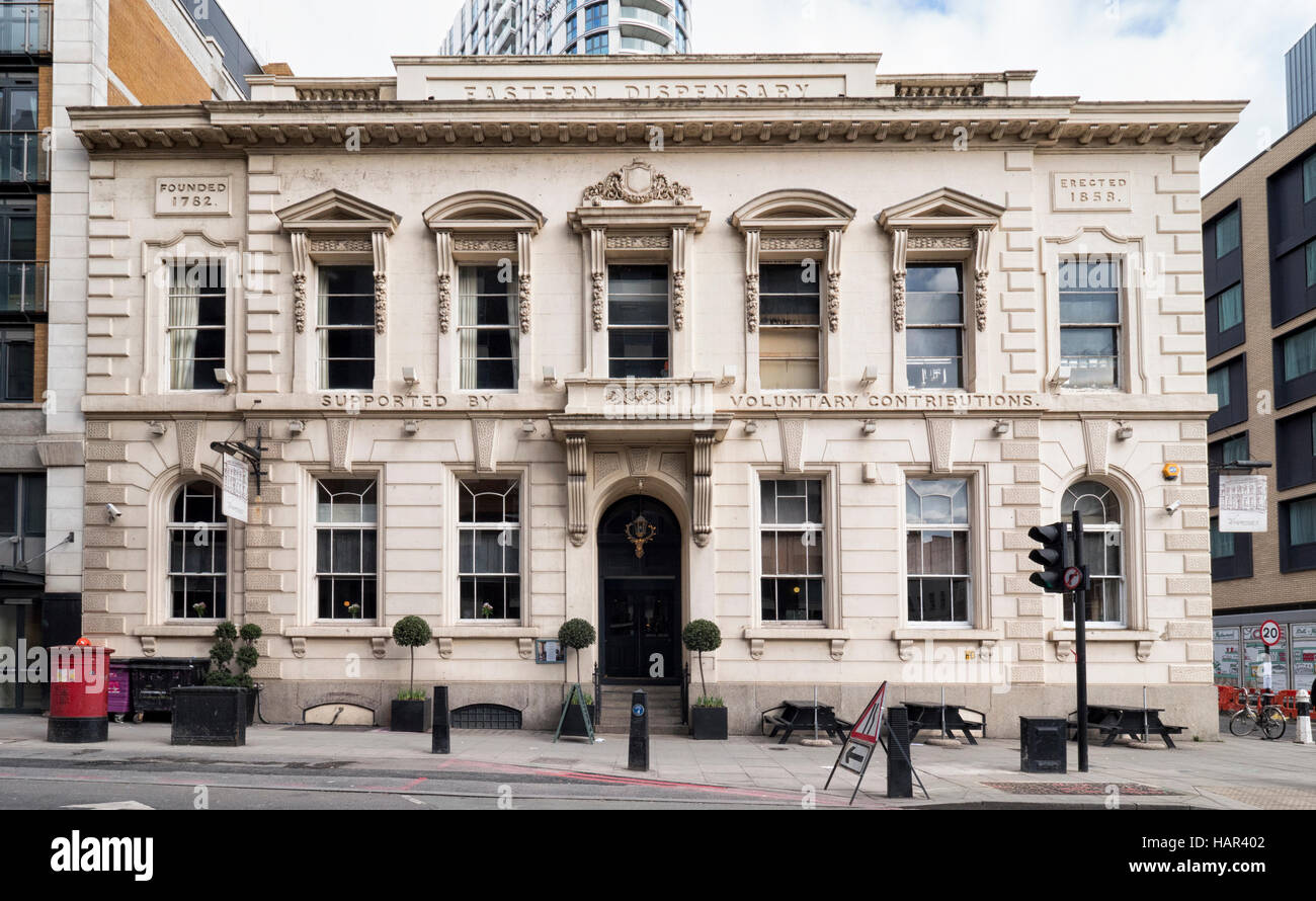 Eastern Dispensary established in 1858 in Leman Street, between Aldgate and Whitechapel - Stock Image