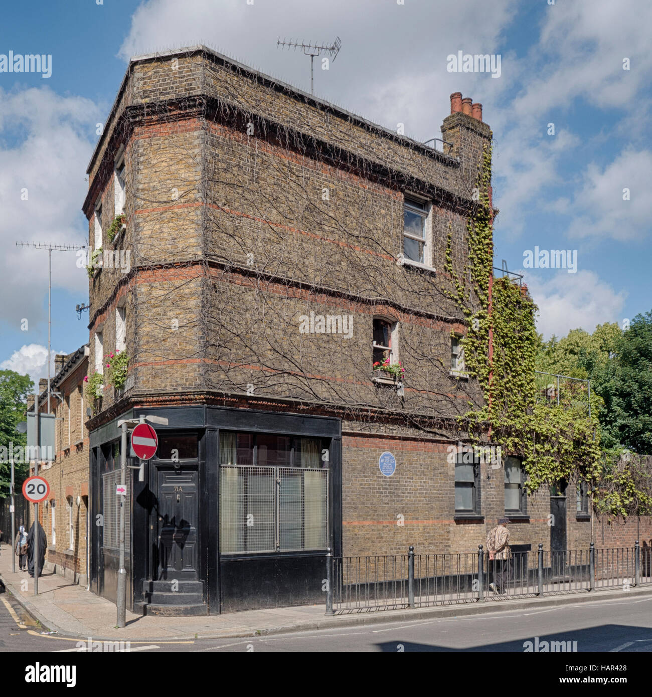 Mary Hughes house Vallance Road Whitechapel a famous 20th century philanthropist revered by the community and Mahatma - Stock Image